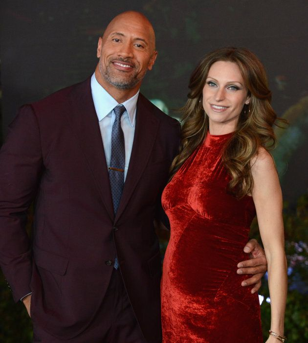 The Rock and Lauren Hashian at the premiere of 'Jumanji: Welcome To The Jungle' on Dec. 11, 2017 in