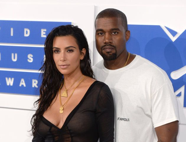 Kim Kardashian and Kanye West arriving at the 2016 MTV Video Music