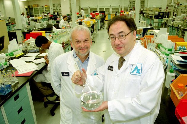 Jack Kay and Barry Sherman in one of Apotex's labs in