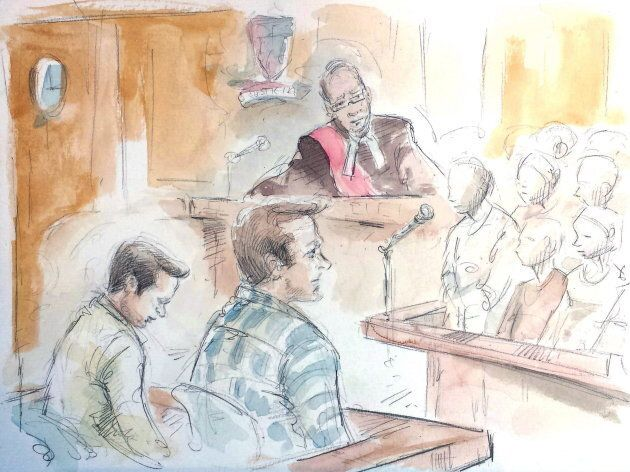 In this artist's sketch, Mark Smich, Dellen Millard and Justice Andrew Goodman listen as the jury delivers...