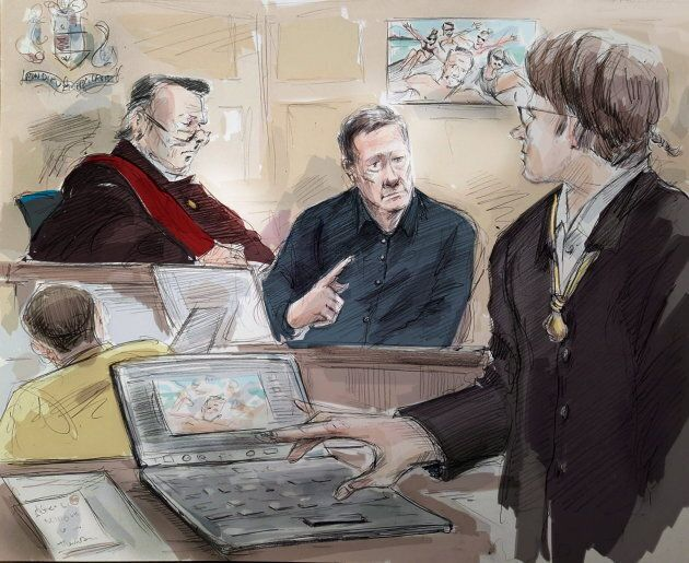 Mark Smich, Justice Michael Code, Dr. Robert Burns and Dellen Millard are shown in an artist's sketch...