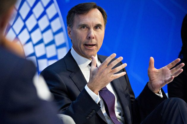 Bill Morneau speaks during a debate at the International Monetary Fund (IMF) and World Bank Group Annual...