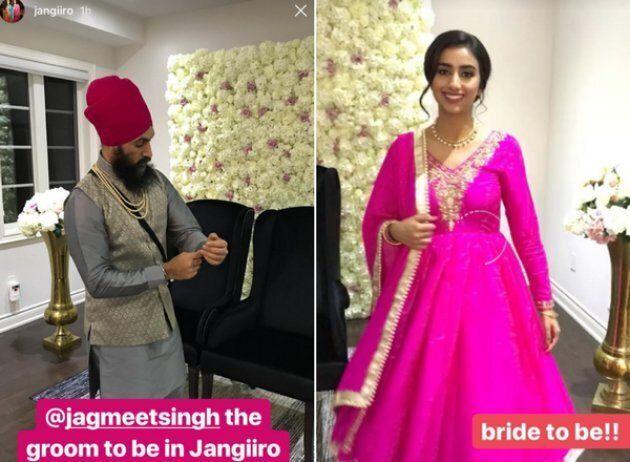 """Instagram posts described NDP Leader Jagmeet Singh as """"groom to be,"""" and Gurkiran Kaur Sidhu as """"bride to be."""""""