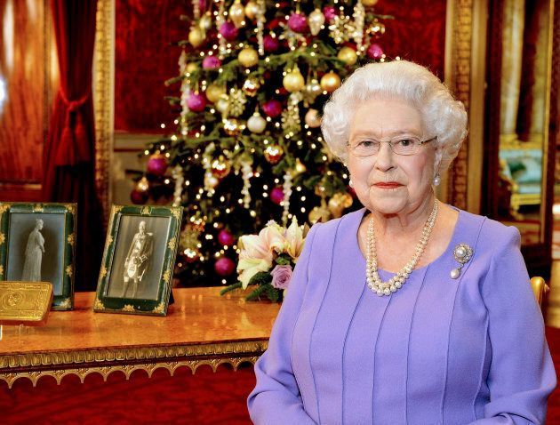 Queen Elizabeth in Buckingham Palace, after recording her Christmas Day television broadcast to the Commonwealth,...