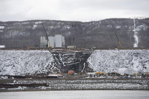 The Site C Dam location is seen along the Peace River in Fort St. John, B.C., on April 18,