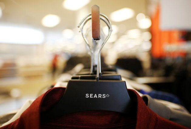 A clothing hanger holds shirts for sale at a Sears store in Mississauga, Ont. Oct. 6,
