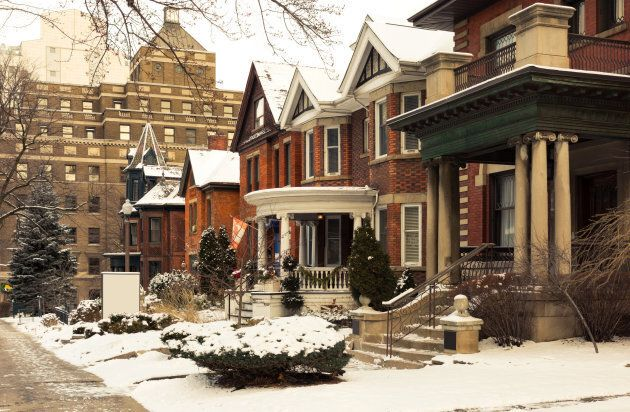 Row of Victorian brick houses in a downtown Hamilton, Ont. neighbourhood similar to