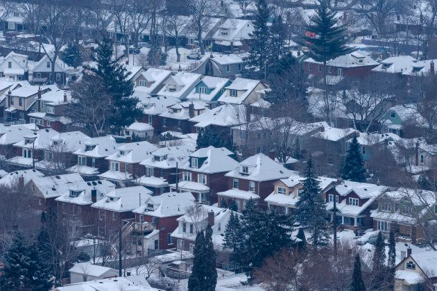 Residential Hamilton, Ont. neighbourhood on a gray, winter morning, as seen from the Escarpment.