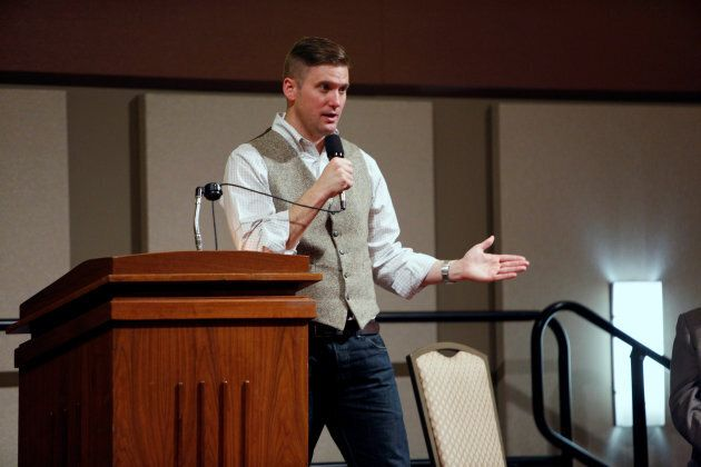 White nationalist leader Richard Spencer of the National Policy Institute speaks on campus at an event...