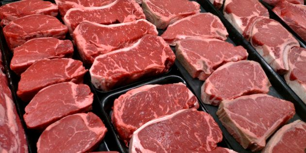 FILE - This Jan. 18, 2010 file photo shows steaks and other beef products displayed for sale at a grocery...