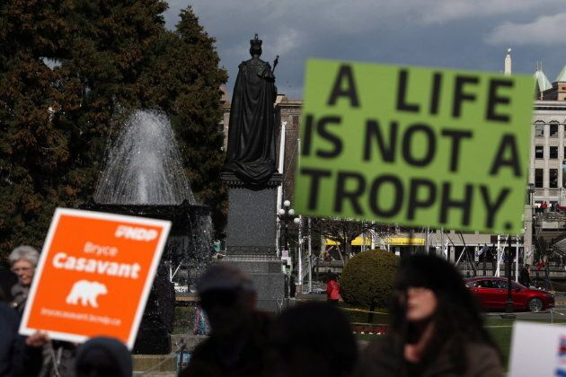 Protesters gather during a rally calling for the end of grizzly bear trophy hunting at the provincial...
