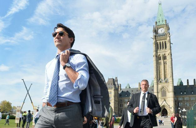 Prime Minister Justin Trudeau leaves Parliament Hill on Oct. 23,