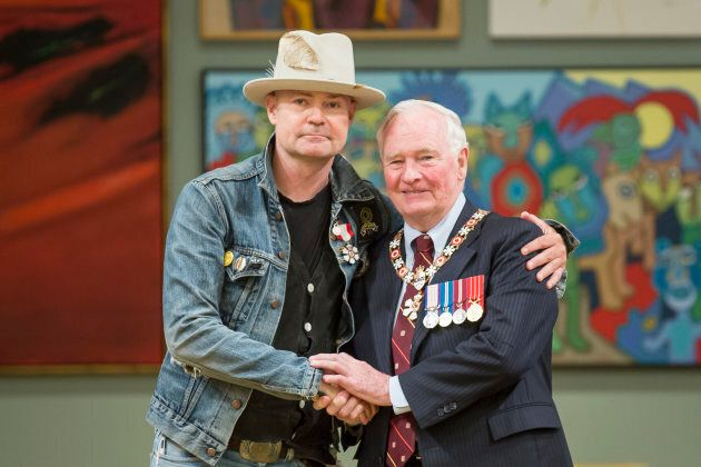 Gord Downie is invested as a Member of the Order of Canada by Governor General of Canada David Johnston...