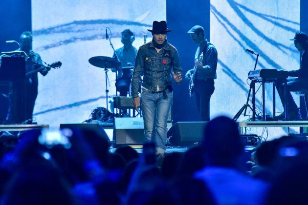 Gord Downie performs on stage during the WE Day Toronto event at the Air Canada Centre on Oct. 19,