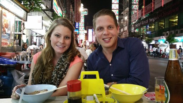 Jordan Axani and Elizabeth Quinn Gallagher in Hong Kong, on their whirlwind trip together as