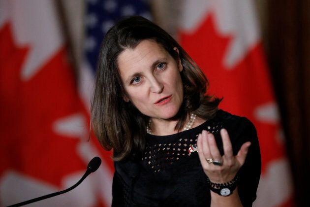 Foreign Minister Chrystia Freeland takes part in a news conference with U.S. Secretary of State Rex Tillerson...