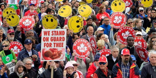 Thousands gather on Parliament Hill for the March for Life rally in Ottawa on Thursday, May 11, 2017.