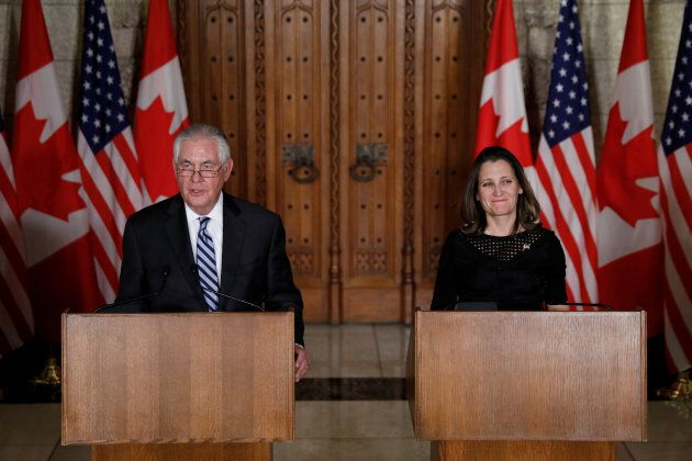 U.S. Secretary of State Rex Tillerson and Foreign Minister Chrystia Freeland take part in a news conference...