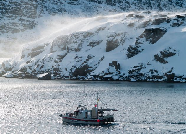 Fishing boat on the Barents Sea in Norway's arctic region in