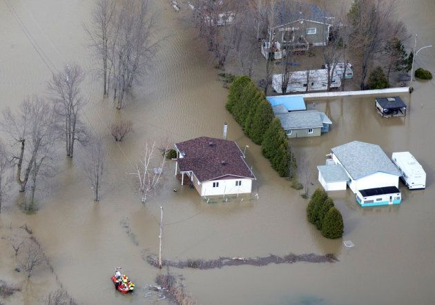 An overhead view showing the flooded residential neighbourhood of Rigaud, west of Montreal, Que., May...