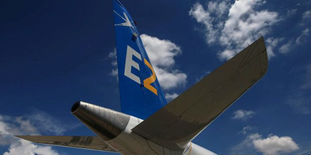 Embraer's E195-E2 commercial jet is pictured in Sao Jose dos Campos, Brazil, March 7, 2017. Embraer is...