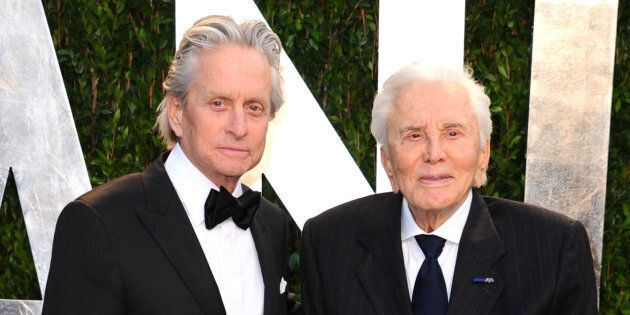 Michael Douglas with his father Kirk Douglas at the 2012 Vanity Fair Oscar Party in