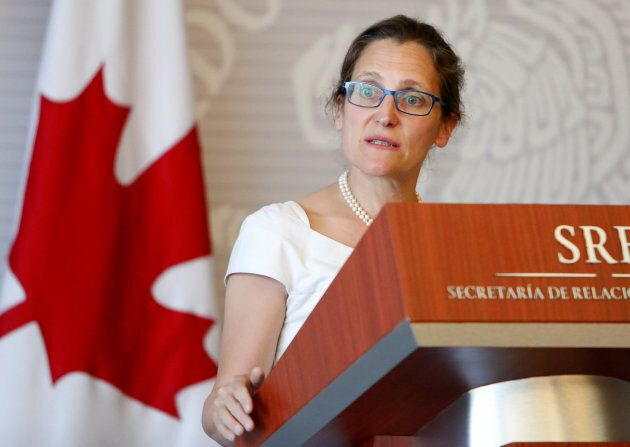 Foreign Affairs Minister Chrystia Freeland delivers a message in Mexico City on May 23,