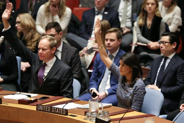 U.S. Ambassador to the United Nations Nikki Haley votes among other members of the United Nations Security...