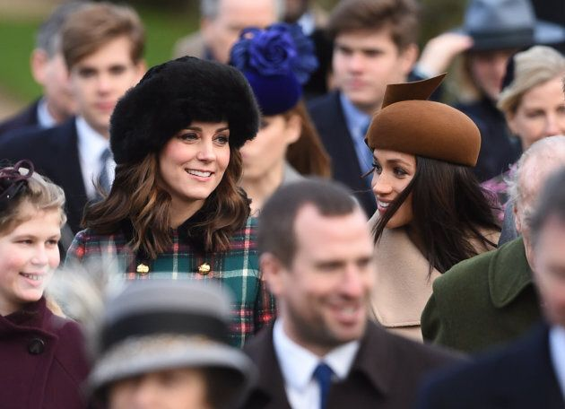 The Duchess of Cambridge and Meghan Markle arriving to attend the Christmas Day morning church service at St Mary Magdalene Church in Sandringham, Norfolk. (Photo by Joe Giddens/PA Images via Getty Images)