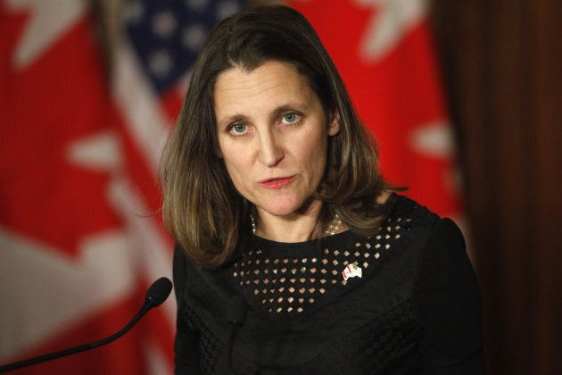 Chrystia Freeland, Canada's minister of foreign affairs, speaks during a joint press conference with...