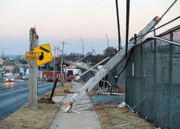 Damaged power lines are seen in Dartmouth, N.S., on Tuesday. Thousands of Nova Scotia Power customers...