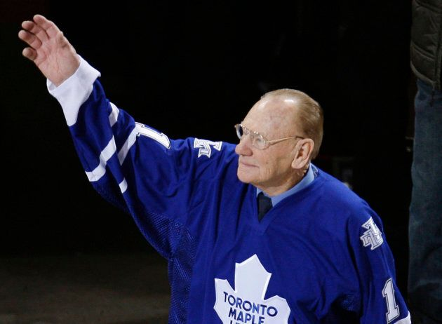 Toronto Maple Leafs great goalie Johnny Bower honoured before an NHL game on January 8,