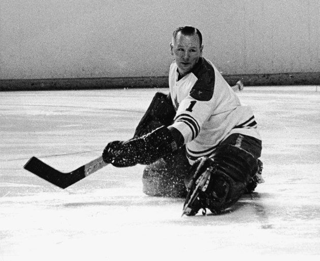 Johnny Bower playing for the Toronto Maple Leafs in the