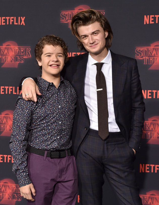 "Gaten Matarazzo and Joe Keery at the premiere of Netflix's ""Stranger Things"" Season 2."