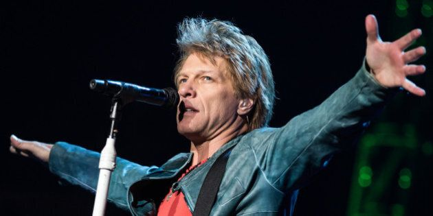 LOS ANGELES, CA - APRIL 19: Musician Jon Bon Jovi of Bon Jovi performs at Staples Center on April 19,...