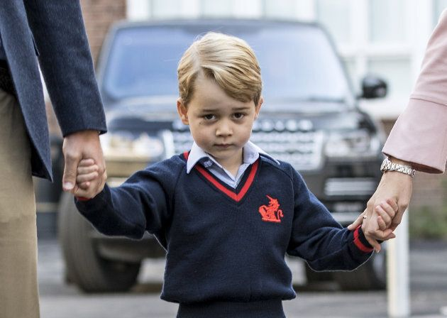 Prince George arrives for his first day of school at Thomas's Battersea, London, on Sept. 7, 2017.