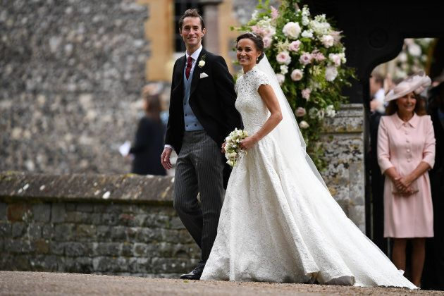 Pippa Middleton and husband James Matthews following their wedding ceremony at St Mark's Church in Englefield, U.K.
