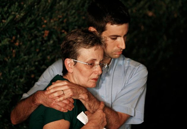 Hadar Goldin's mother, Lea, and his brother,