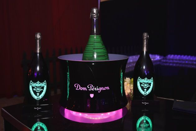 Dom Perignon on display at Moet Hennessy at The 2017 amfAR and The Naked Heart Foundation Fabulous Fund...