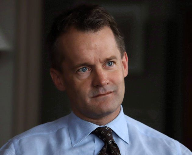 Veteran Affairs Minister Seamus O'Regan is shown during an interview in his office on Parliament Hill...