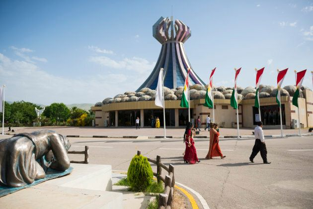 The Halabja Monument in Halabja, Iraq. The monument commemorates the March 16, 1988 gas attack by Sadaam...