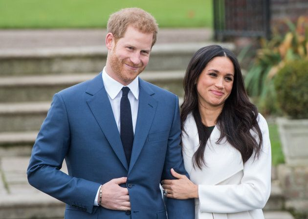 Prince Harry and Meghan Markle during an official photocall to announce their engagement on Nov. 27, 2017.