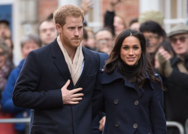 Prince Harry and Meghan Markle go on a walkabout at Nottingham Contemporary on Dec. 1, 2017.