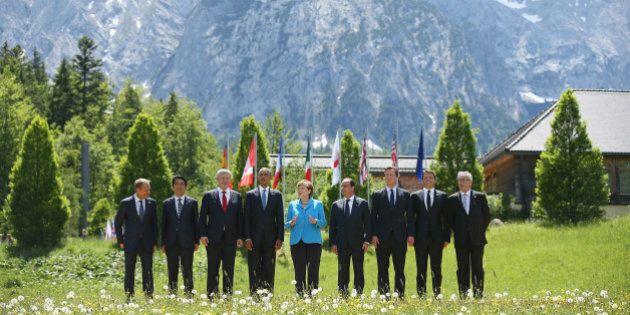 GARMISCH-PARTENKIRCHEN, GERMANY - JUNE 07: (From L to R) President of the European Council Donald Tusk,...