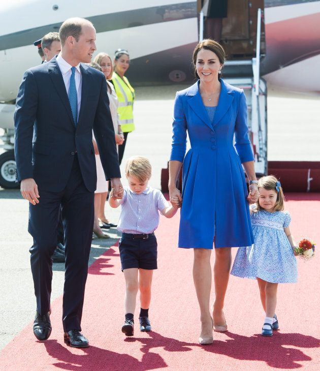 The Duke and Duchess of Cambridge with their children, Prince George and Princess
