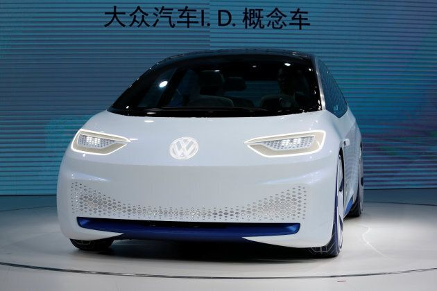 A Volkswagen I.D. electric vehicle is shown at a news conference in Guangzhou, China on Nov. 17, 2016.
