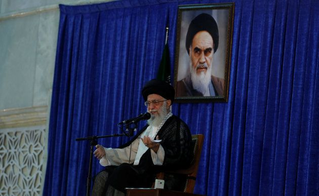 Iran's Supreme Leader Ayatollah Ali Khamenei delivers a speech during a ceremony marking the death anniversary of the founder of the Islamic Republic Ayatollah Ruhollah Khomeini, in Tehran on June 4, 2017.