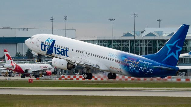 An Air Transat Boeing 737-800 airliner takes off from Vancouver International Airport, Richmond, B.C....