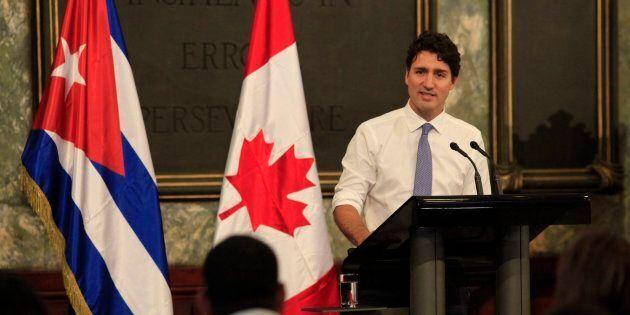Prime Minister Justin Trudeau speaks to students at Havana University in Havana, Cuba on Nov. 16,