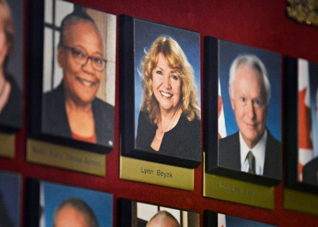 A picture of Conservative Senator Lynn Beyak hangs in a hallway on Parliament Hill in Ottawa on Sept....